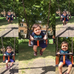 Baz on a swing, June.